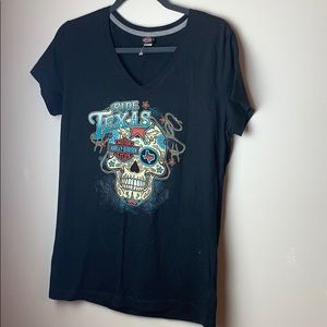 Harley Davidson Black Skull Ride Texas T-shirt